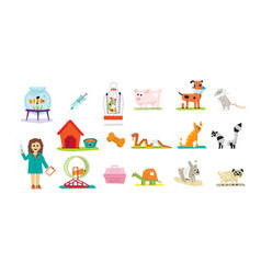 professional vet doctor and domestic animals set vector image vector image