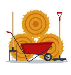 red flat gardening wheelbarrow with hay rake and vector image