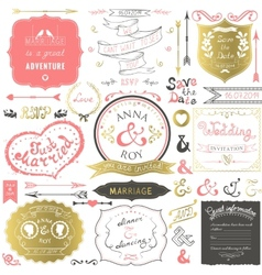Retro hand drawn elements for wedding invitations vector image vector image