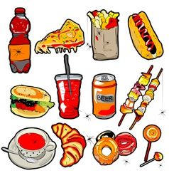 scarry fast food elements vector image vector image