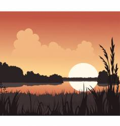 sunset and lake vector image