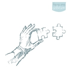 Drawn hand connecting puzzle solutions sketch vector image vector image
