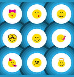 flat icon face set of party time emoticon smile vector image vector image