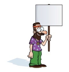 Happy hippie with protest sign vector image vector image
