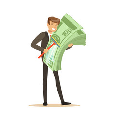 Man in a business suit washing money sing mop vector
