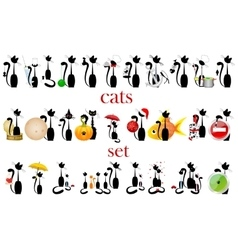 set of cats isolated vector image