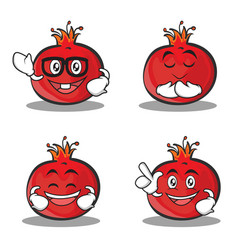 set of pomegranate cartoon character style vector image vector image