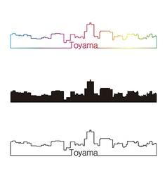 Toyama skyline linear style with rainbow vector image vector image