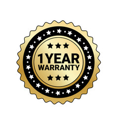 1 year warranty sign isolated golden mark icon vector image