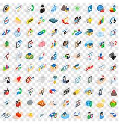100 partnership icons set isometric 3d style vector image