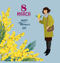 8 march women with flowers mimosa on a blue vector image