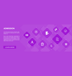 Admission banner 10 icons conceptticket accepted vector