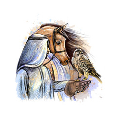 arabian man with a falcon and a horse from a vector image