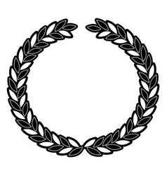 Arch of leaves in circular shape in monochrome vector
