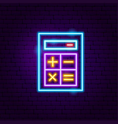 calculator neon label vector image