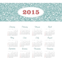 Calendar 2015 year with decorative pattern vector image