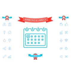 calendar with check mark- line icon vector image