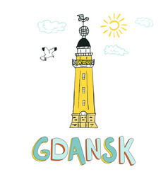 Card with lighthouse in gdansk poland vector