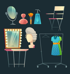 Cartoon dressing room collection for vector