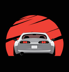 cartoon japan tuned car on red sun background vector image