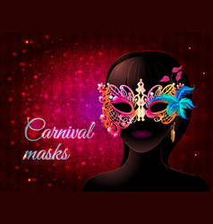 Cartoon masquerade party template vector