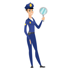 Caucasian police woman holding hand mirror vector