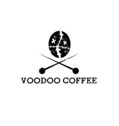 Coffee bean in a form voodoo head design vector