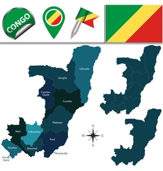 Congo map with named divisions vector image