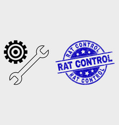 contour repair tools icon and scratched rat vector image