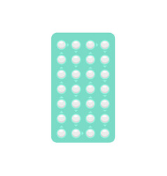 Contraceptive pills pack icon flat style vector