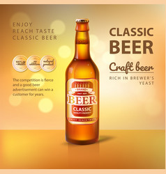 Craft beer in glass bottle promo poster of brewery vector