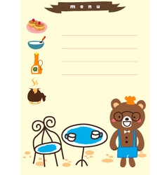 Cute bear for menu cafe vector