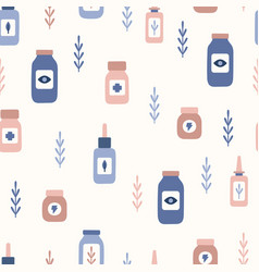 Cute pastel hand drawn medicine seamless pattern vector