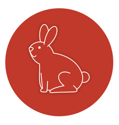 Cute rabbit pet icon vector