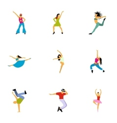 Dancing icons set flat style vector