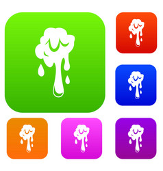 dripping slime set color collection vector image