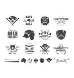 Emblems and badges set of baseball team vector