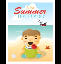 Enjoy tropical summer holiday with little boy vector