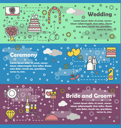Flat line art wedding banner set vector