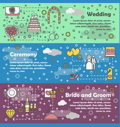 flat line art wedding banner set vector image