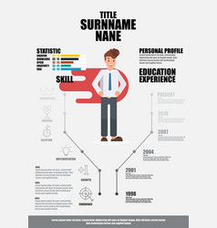 Flat resume with infographics resume vector