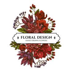 Floral bouquet design with colored viburnum vector