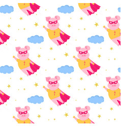 funny pig in superhero costume flies in the sky vector image