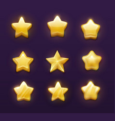 game ranking gold stars cartoon ui gui interface vector image