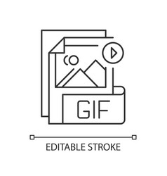 Gif file pixel perfect linear icon vector
