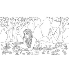 girl reads a book in meadow vector image