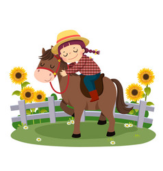 Girl riding and hugging her horse vector