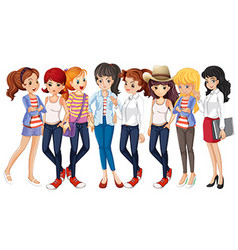 Girls in blue jeans vector image