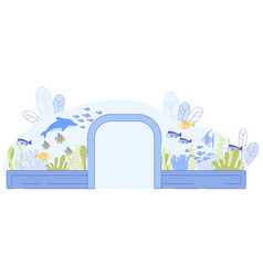 Glass tunnel in aquarium fish dolphin swimming vector