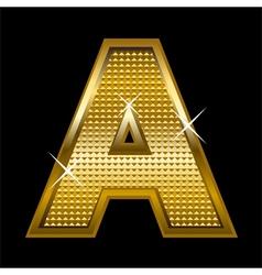 Golden font type letter A vector